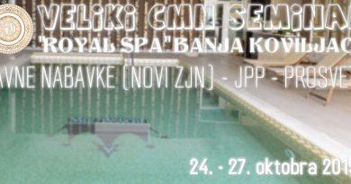 EKSKLUZIVNO: Veliki CMN Seminar – Royal Spa Banja Koviljača – 24. do 27. oktobra 2019. (kapacitet hotela – 83 sobe)