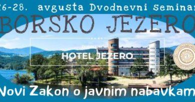 "Dvodnevni seminar ""Novi Zakon o javnim nabavkama"" – BORSKO JEZERO, 26-28. avgusta!"